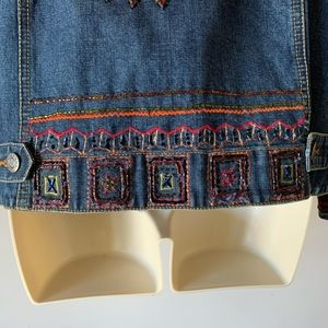 Chico's Jackets & Coats - Chico's embroidered silk patchwork denim jacket